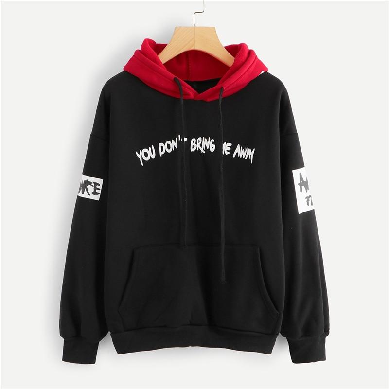 Black Letter Print Hooded Sweatshirt Hoodie For Women