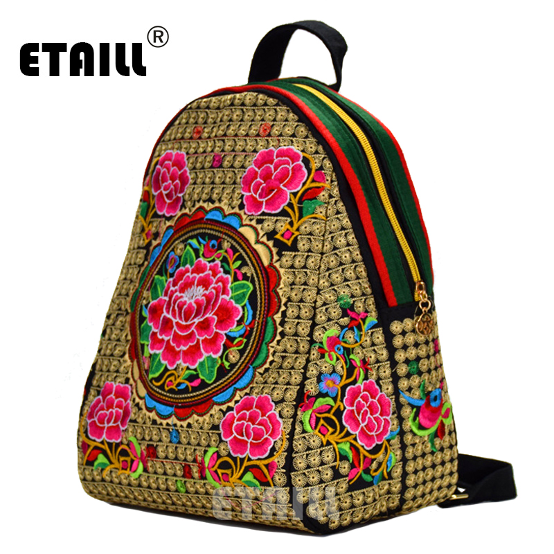Etaill Ethnic Boho Indian Thailand Embroidered Backpack Floral Rose Large Teenagers School Bag Knapsack Backpacks For Girls