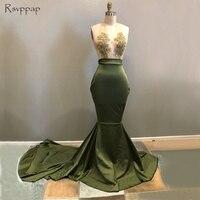 Long Elegant Prom Dresses 2019 Gorgeous Mermaid Sheer Nude Halter Beaded African Hunter Green Prom Dress