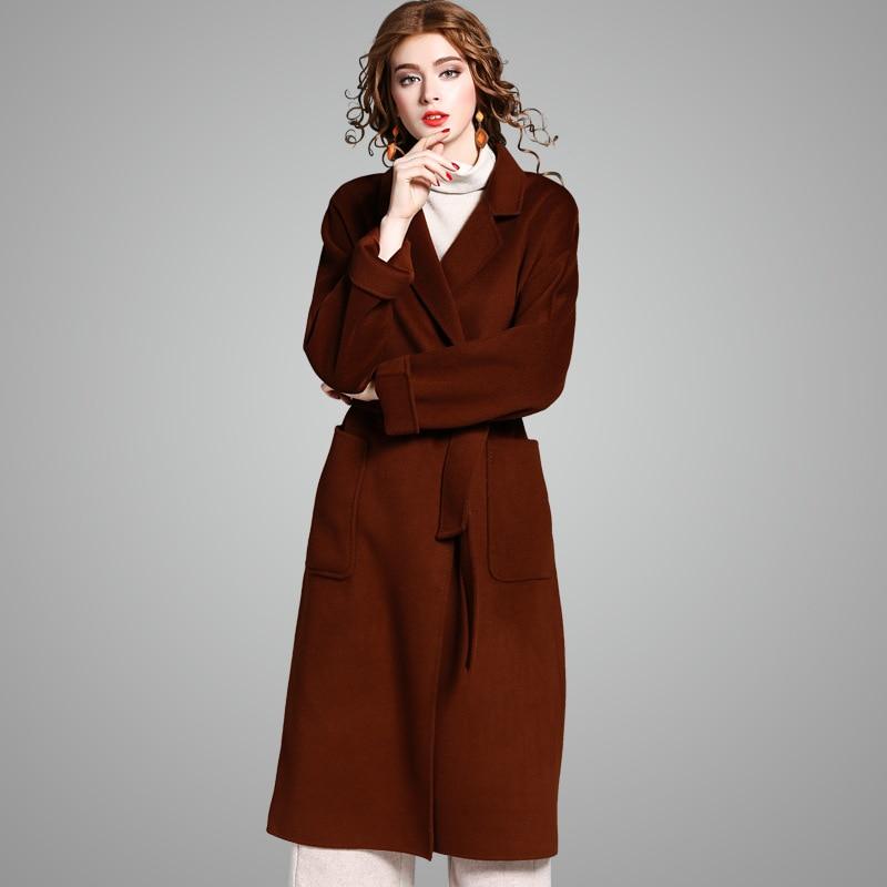 Ouvrir Marque De 100 Qualité Avec Mode Des See Chart X Femmes Laine Nouvelle Solide Ceintures Piste Manteau long Yqm D'hiver Top Point Manteaux 2017 F58O8q6