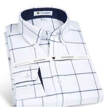 Herren Langarm Oxford Medium Plaid Woven Shirt mit Fronttasche Hochwertige 100% Baumwolle eisen Lässig Taste-down Shirts