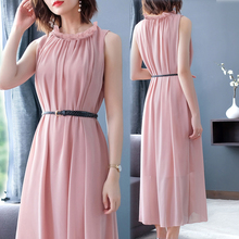 Pink Fake Silk Chiffon Long Maxi Sleeveless Dress Women Elegant Plus Size Tunic Party Night Robe Dresses 2019 Summer Clothes