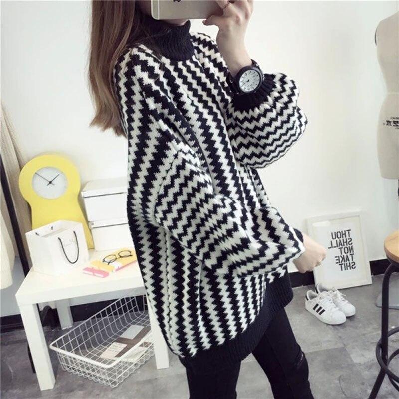 3d2cc976074d3 Moda 2016 suelta suéter suéter de la raya para Mujer de invierno de punto  Sweater Jumper Pull Femme Chandail Jersey Mujer Hiver en Pullovers de La  ropa de ...