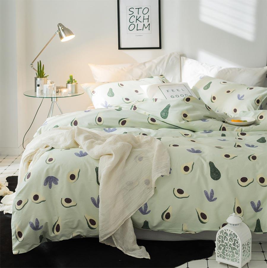 Cute green avocado single double bedding set teen kid,twin full queen king cotton bedclothes pillow case bed sheet duvet cover
