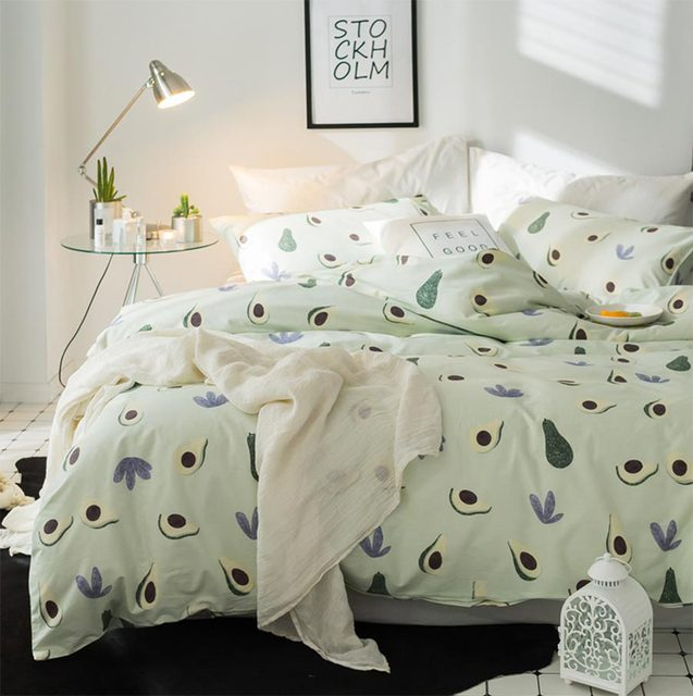 Aliexpress.com : Buy Cute green avocado single double bedding set ...