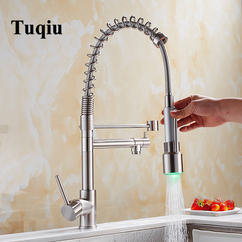 Pull Down LED Kitchen Faucet Sprayer Nickel Brass LED Faucet Swivel Vessel Sink Mixer Tap Cozinha