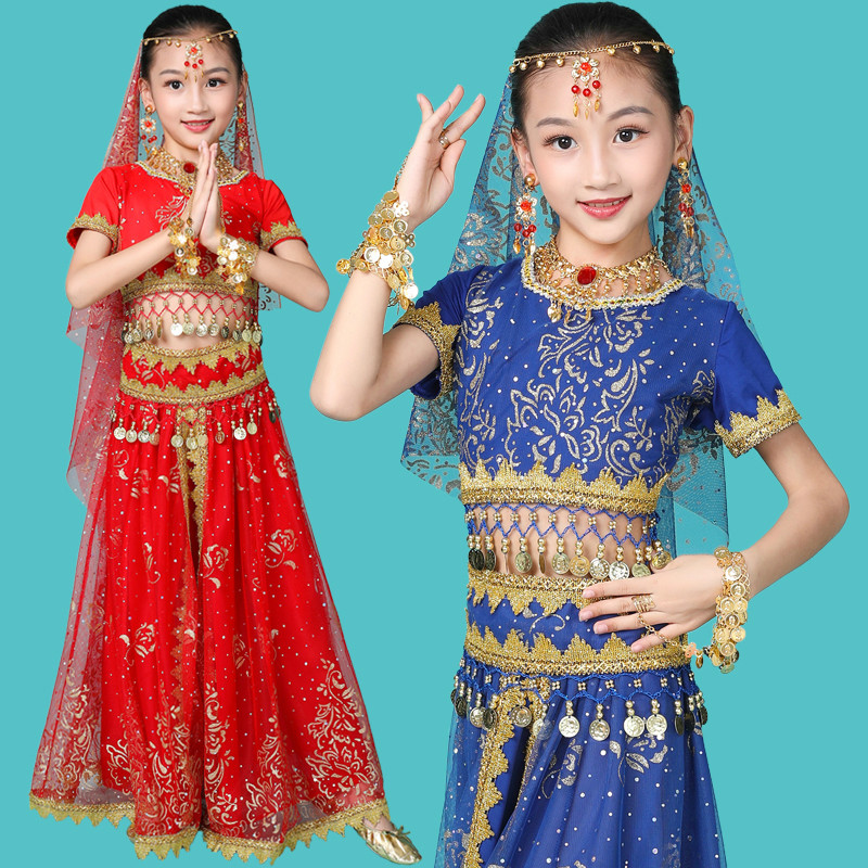 Girls Belly Dance Costumes New Design Oriental Dance Children Dresses India Bollywood Dance Professional Outfit Kids 4 Color