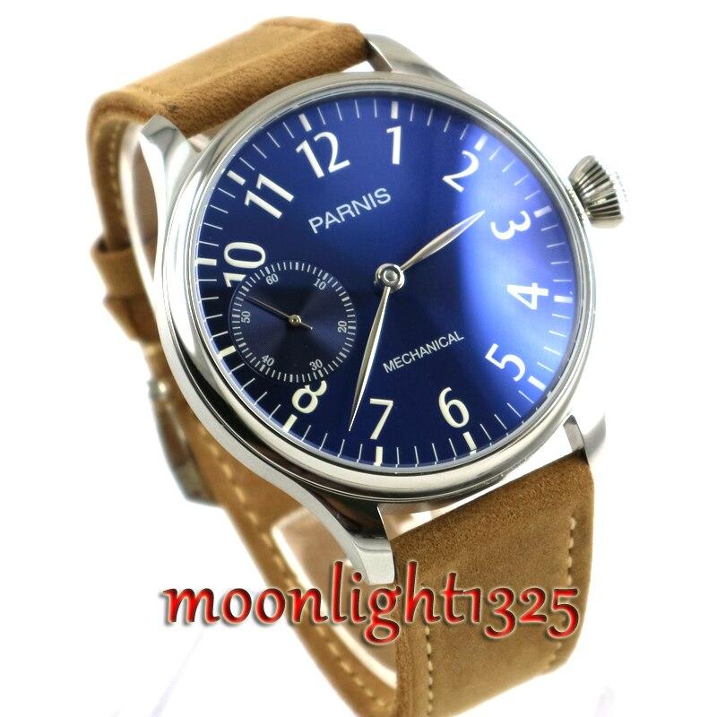 все цены на 44mm Parnis Blue dial 17 jewels 6497 movement Hand Wind Mechanical Men's Watch онлайн
