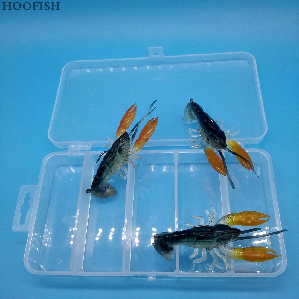 HOOFISH 5pcs+1BOX/lot 7cm/14g Soft Fake Crawfish lobster Artificial Lure Bait fishing tackle offshore angling and river