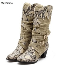 3b7dfc7b1d690 Winter Snow Boots Lady s Western Cowboy Boots Snake Print Mid Calf Snow  Boots Shoes Women Botas Mujer Fur Boots