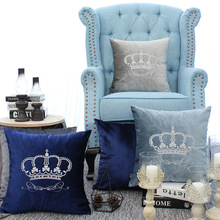 купить Home Decorative Sofa Throw Pillows Crown Court Embroidered Flannel Cushion Cover Embroidered Pillow Case дешево