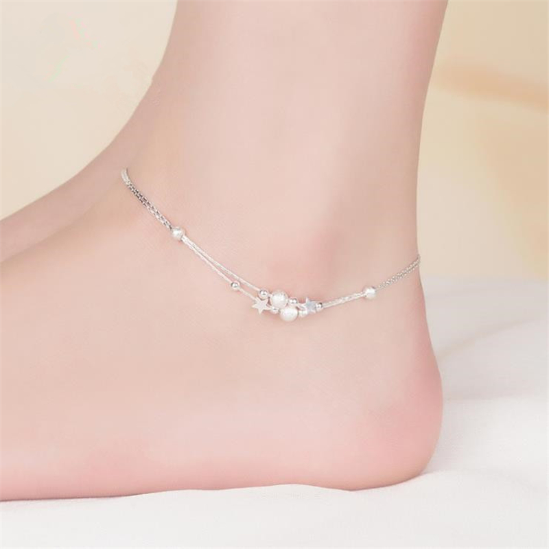 KOFSAC Fashion 925 Sterling Silver Double Chain Anklets For Women Party Star Beads Ankle Bracelets Foot Jewelry Cute Girl Gift