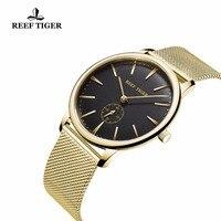 Reef Tiger 2018 лучший бренд класса люкс Пара часы пара для мужчин и женщин ультра тонкий желтого золота аналоговые часы для влюбленных RGA820