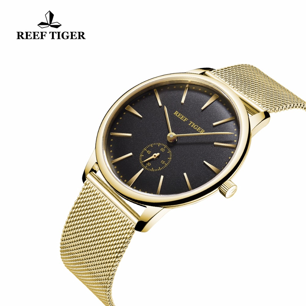 Reef Tiger 2019 Top Brand Luxury Couple Watches Pair Men And Women Ultra Thin Yellow Gold Analog Watches For Lovers RGA820