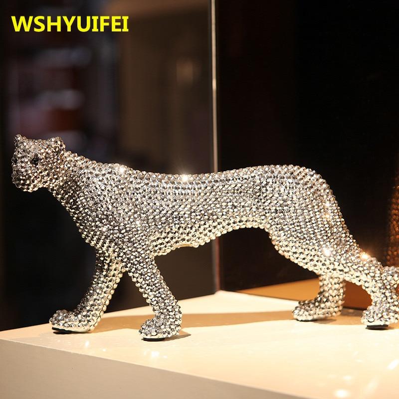 New Ceramic Crafts Creative Animal Diamond Leopard sculpture Ceramic Living room Home Decoration Accessories Send friends