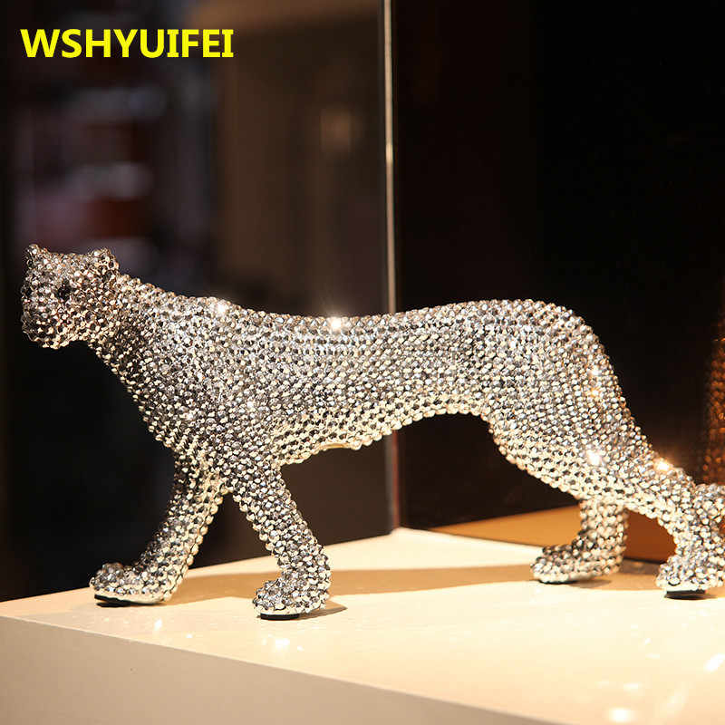 New Ceramic Crafts Creative Animal Diamond Leopard sculpture Ceramic Living room Home Decoration Accessories Send friends gifts