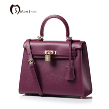 MORESHINE brand Women Genuine leather handbags with Lock design women s Natural leather Lines bag Female