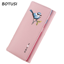 купить BOTUSI Bird Long PU Leather Women Wallet Female Purse Coin Pocket Credit Card Holder Lady Clutch Money Bag Phone Hasp Fashion дешево