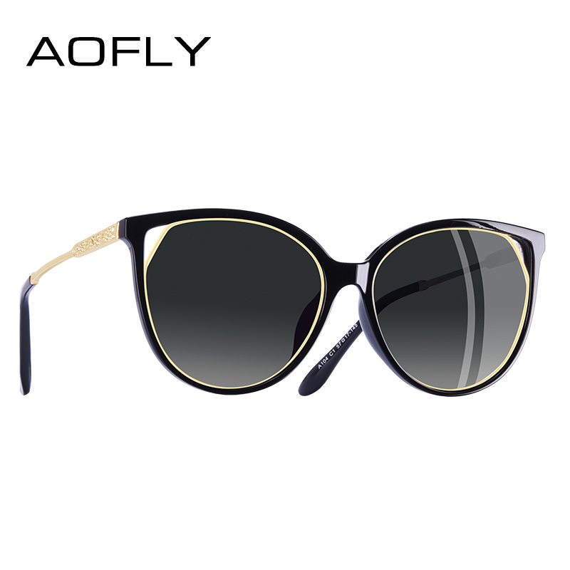 22829139da36 AOFLY BRAND DESIGN Cat Eye Sunglasses Women s Polarized Fashion Sun Glasses  For Women Rhinestone Temple Goggles UV400 A104 -in Sunglasses from Women s  ...