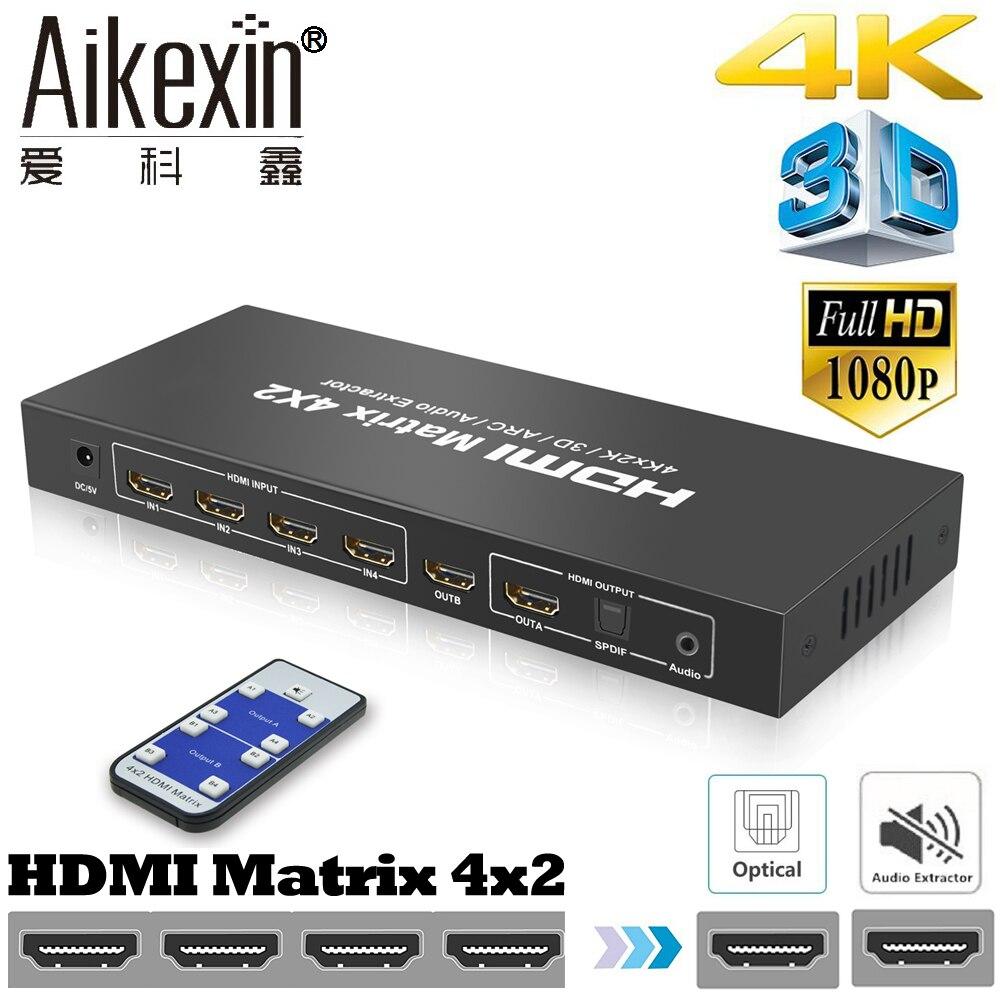 Aikexin Matrice HDMI Full HD 4 K x 2 K 3D 1080 P HDMI Matrix 4X2 Interruttore Splitter HDMI1.4 con telecomando + R/L Toslink Audio Ottico
