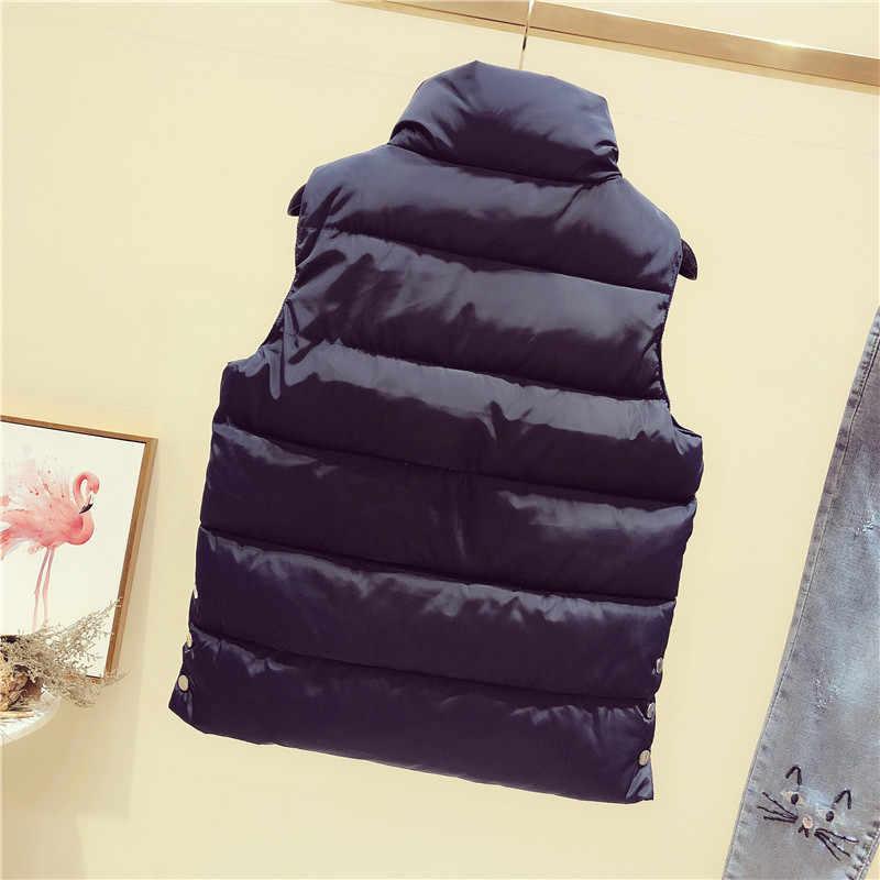Heißer 2018 Herbst Winter Neue Ärmellose Jacke Weste Schwarz Weiß Schlanke Warme Kurze Jacke Mode Weste Weibliche Baumwolle Casual Tops