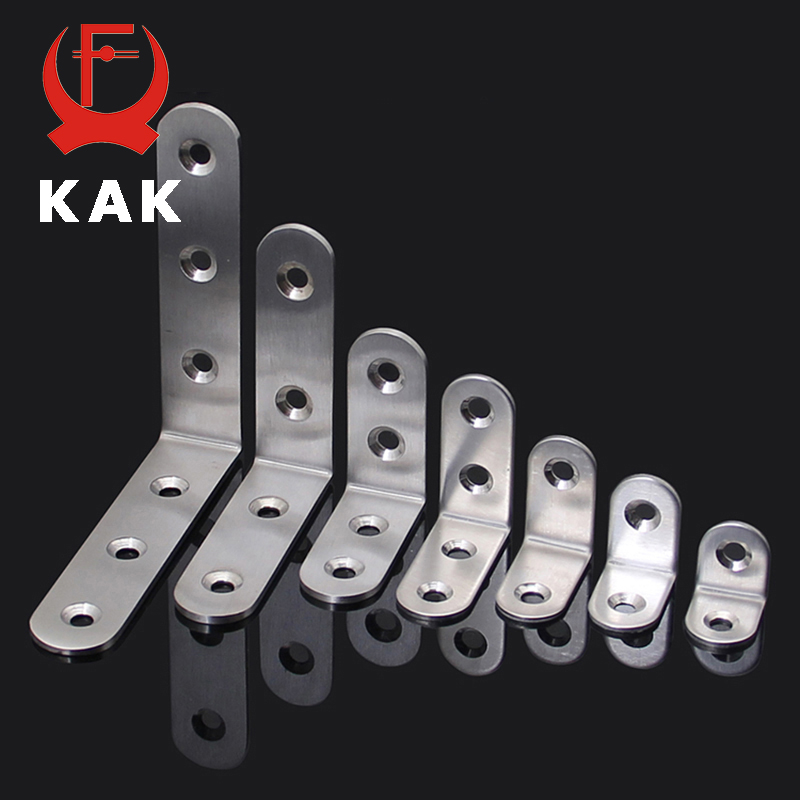 KAK 10PCS Stainless Steel Angle Corner Brackets Fasteners Protector Seven Size Corner Stand Supporting Furniture Hardware
