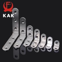 KAK 10 Uds soportes de esquina de ángulo de acero inoxidable protector de tornillos Soporte esquinero de siete tamaños que soporta Hardware de muebles