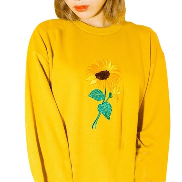 Korean Simple Plants Sunflower Embroidery Loose Hedging Sweatshirt Woman Round Neck Long Sleeve Casual Women Hoodies