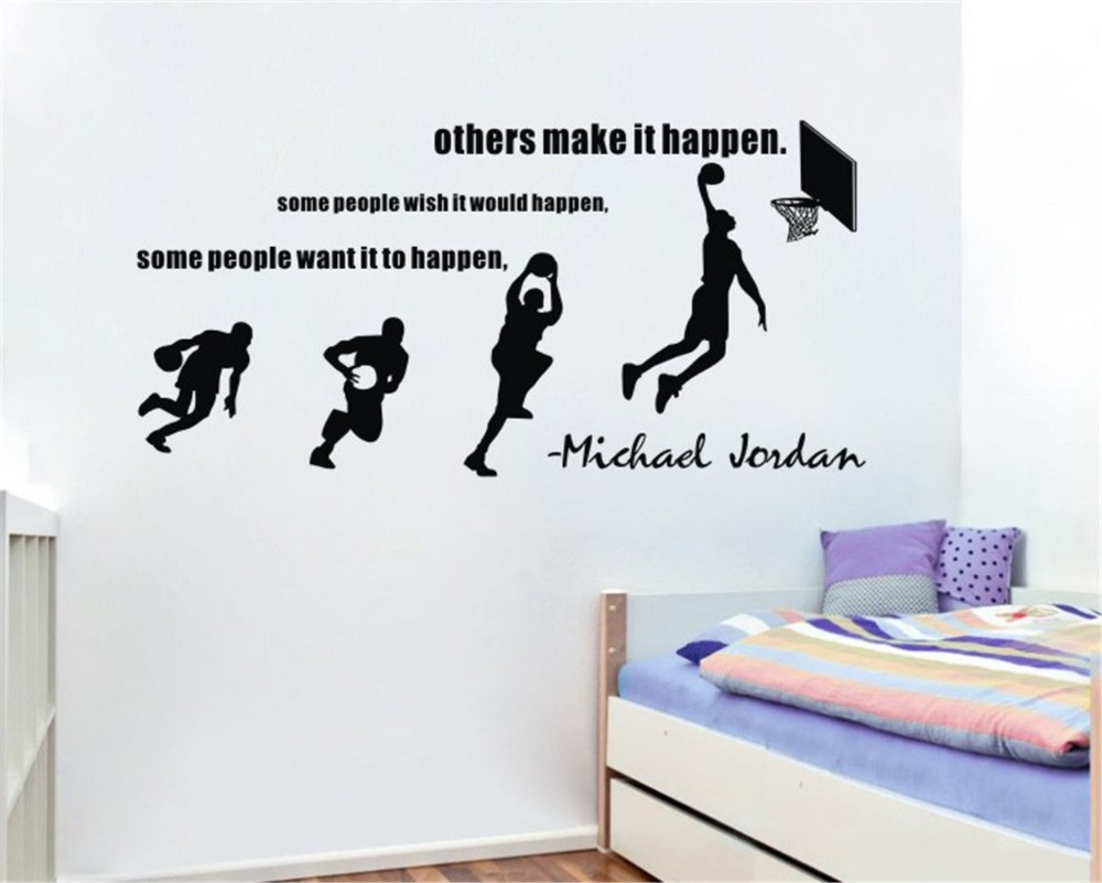 Michael Jordan Wall Decals Basketball Dunk Sport Wall Stickers Decal Stride Lay UP Sports Quotes Room Decor Size 114*55cm-in Wall Stickers from Home ... & Michael Jordan Wall Decals Basketball Dunk Sport Wall Stickers Decal ...