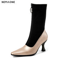 NEMAONE ankle boots fashion women autumn winter shoes high heels good quality zipper pointed toe boots large size 42 43