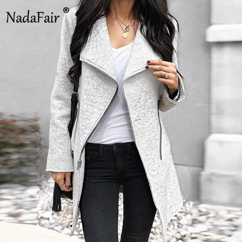 Nadafair  2019 new arrival asymmetric wool blend long coats women autumn winter thick casual jacket coat women skew zipper outwear
