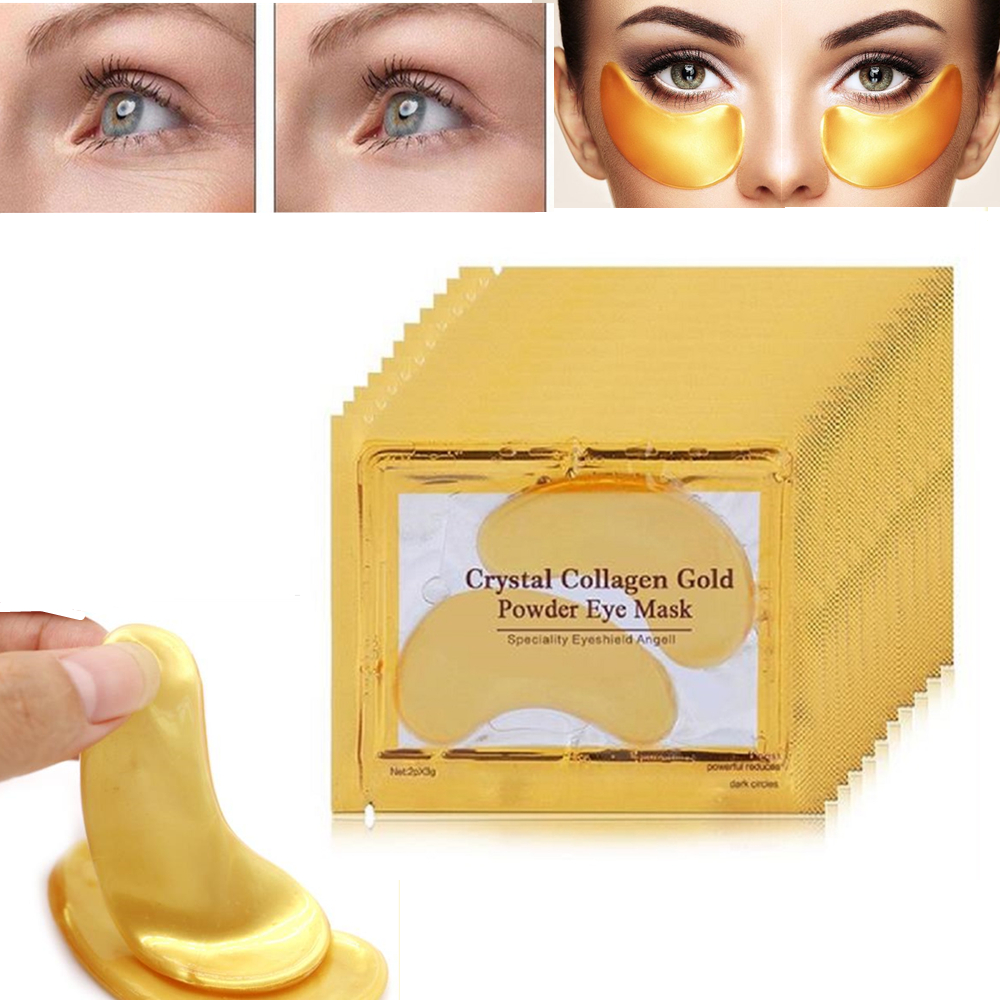 10Pcs=5 Pairs  Collagen Gold Eye Mask Eye Patch Face Mask Eye Patches For The Eyes Crystal Masks Anti Dark Circle Eyelid Patch