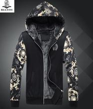 Hoodies, Sweatshirts new autumn and winter men's clothing plus thickening pattern hooded coat tide