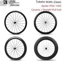 23mm Width Tubeless Carbon Road Bike Wheel 700c Wheelset 38mm 50mm 60mm 88mm Pillar 1420 Spoke