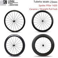 23mm Width Tubeless Carbon Road Bike Wheel 700c Wheelset 38mm 50mm 60mm 88mm Pillar 1420 Spoke