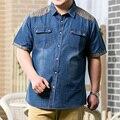 Aumentar el tamaño 8XL 7XL Hombres Jeans Camisa de Algodón Delgada de Manga Corta Camisas de Mezclilla de Los Hombres Solo Pecho Patchwork Vaquero