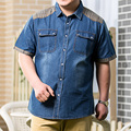 Increase the size 8XL 7XL Men Jeans Shirt Cotton Thin Short Sleeve Denim Shirts Men's Single Breasted Patchwork Cowboy