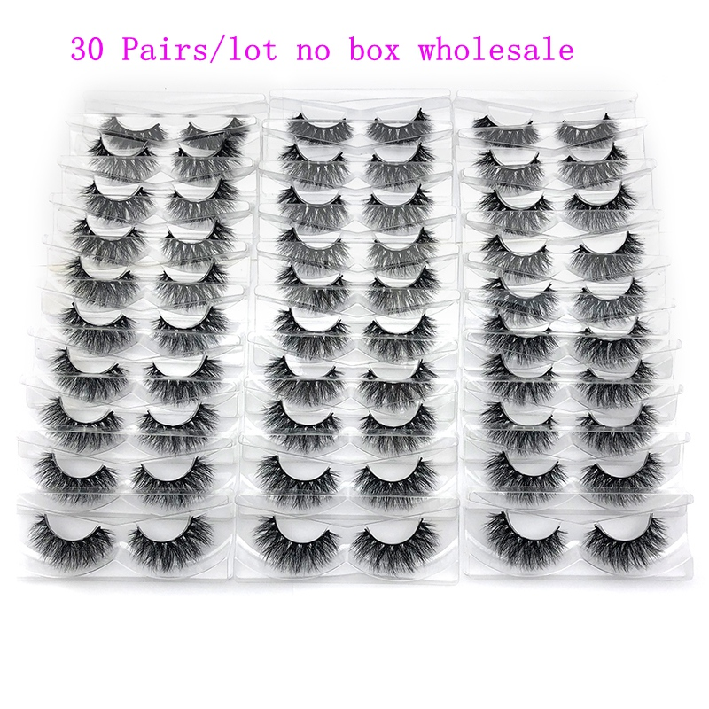 Mikiwi 30 pairs/pack 3D Mink Lashes With Tray No Box Hand Made Full Strip Lashes Mink False Eyelashes Makeup eyelashes cilios-in False Eyelashes from Beauty & Health    1