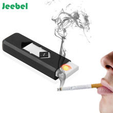 Rechargeable Flameless Electronic Cigarette Lighters Ultra-thin Windproof Smokeless No Gas  Electric Arc USB Charging Lighter