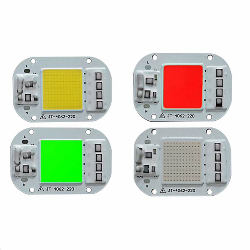 LED Lamp COB Chip 20W 30W 50W 220V Input Smart IC Fit For DIY LED Floodlight Spotlight IP67 LED Chip Integrated Driver Color