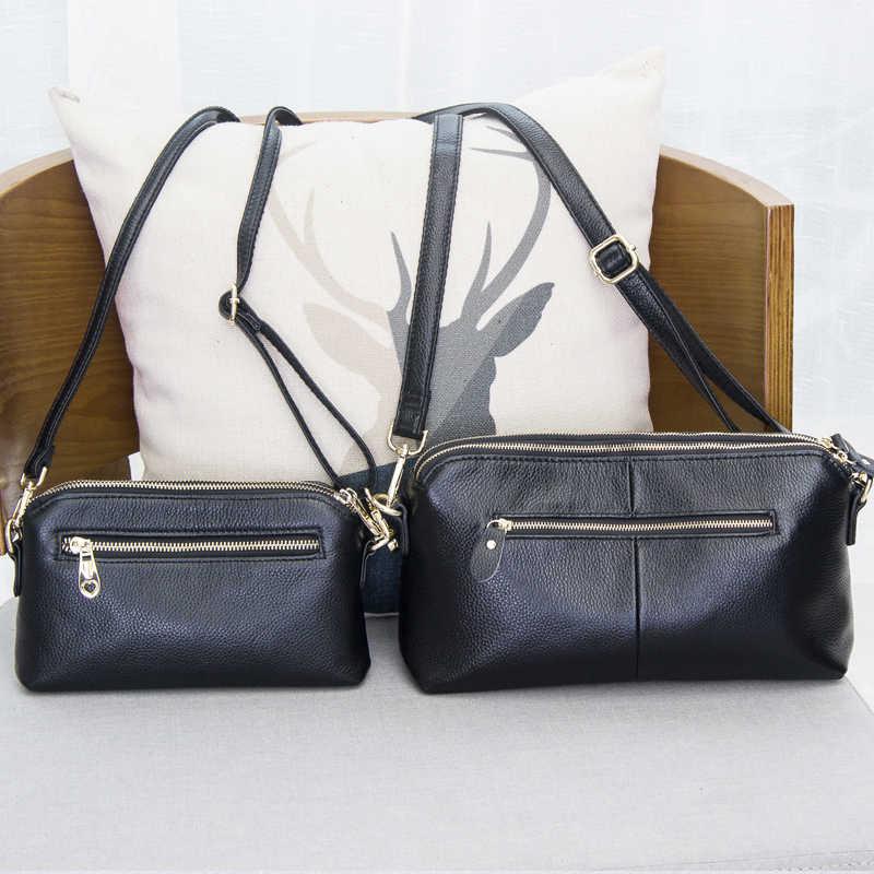 100% Высококачественная сумка-клатч из натуральной кожи, стильная модная трендовая женская сумка-мессенджер, двойная сумка для отдыха #38177