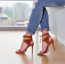 peep toe high thin heel dark khaki women sandals ankle cross tied shoes mature style well matched clothes shoes for summer