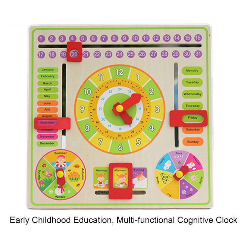 Fashion Wooden Calendar Board Teaching Clock for Children Kids Early Learning Educational Toy Kindergarten Classroom toys