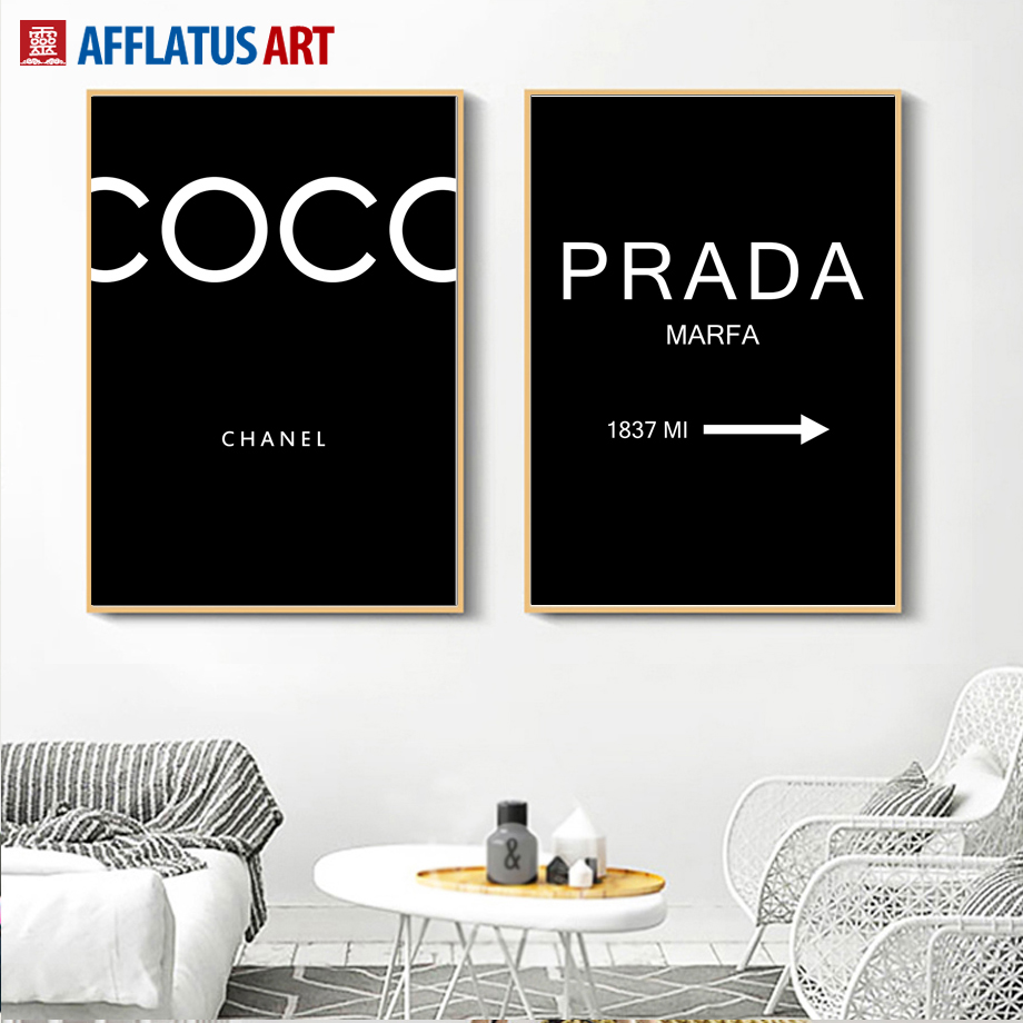 AFFLATUS Coco Prada Nordic Posters And Prints Black White Wall Art Canvas Painting Pop Art Wall Pictures For Living Room Decor