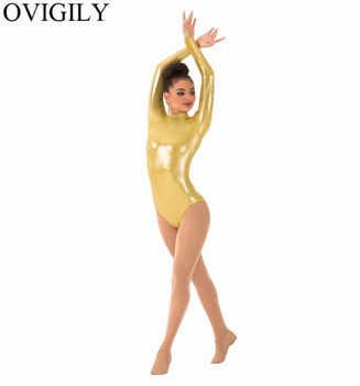 OVIGILY Purple Adults Long Sleeve Leotard For Gymnastics Women Spandex Metallic Turtleneck Dance Leotards Red Ballet Bodysuits