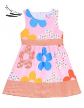 Girls Designer Kids Brand New Fashion Kids Girl's Floral O-Neck Sleeveless Pleated A-line Tank Dress