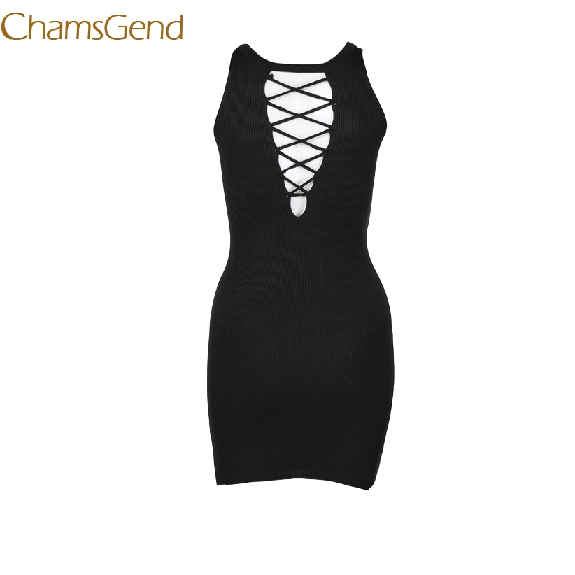 Chamsgend Women Sexy Reversible Cross Bandage Tight Dress Lady Sleeveless Hollow Out Knitted Dress 7830 clwr feather reversible insulated vest women s