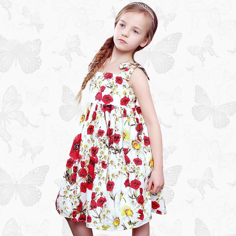 Floral children's clothing girls dress summer dress European and American brand cotton summer sling children's princess dress j brand girls dress cotton dress