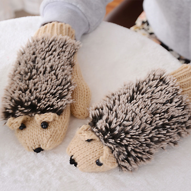 Cute Hedgehog Gloves Women Winter Warmer Knitted Crochet Wrist Cartoon Fleece Mittens Outdoor Gifts IK88