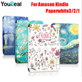 Painted PU Leather Cover Case For Amazon Kindle PaperWhite 1 2 3 E-books Coque Cover Case For Kindle Paperwhite+HD screen film